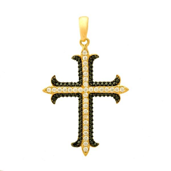 Pingente De Ouro 18k Cruz Com Zircônias