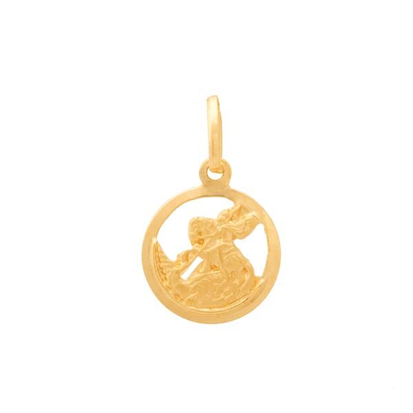 Pingente De Ouro 18k Medalha De São Jorge De 11mm