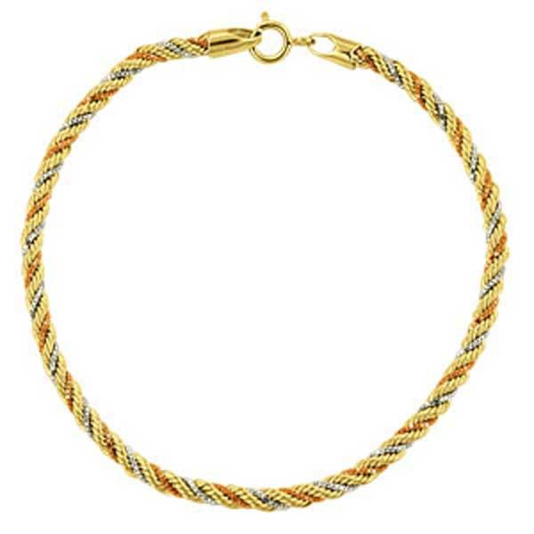 Pulseira De Ouro 18k Corda Tricolor De 2,3mm Com 16cm