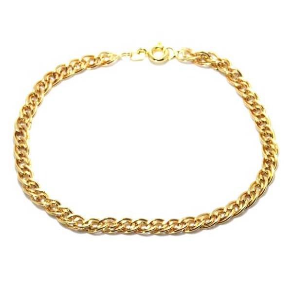 Pulseira De Ouro 18k Malha Romana De 18cm Com 4,4mm