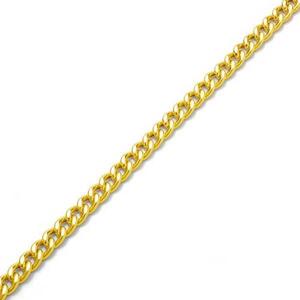 Pulseira De Ouro 18k Groumet De 7,5mm Com 21cm