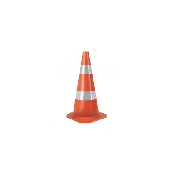 Cone Laranja e Branco Com Faixa Refletiva 75cm Kteli