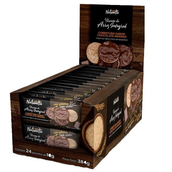 Biscoito de Arroz Integral com Cob. de Chocolate Amargo Display 24x16g