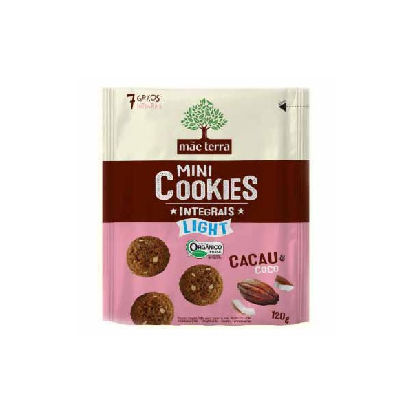 Mini Cookies Integrais Light Cacau e Coco 120g