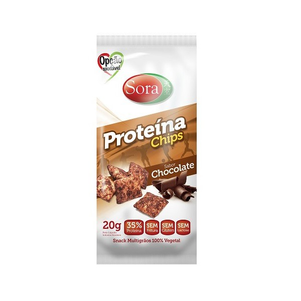 Proteína Chips Sabor Chocolate Display 10 x 20g