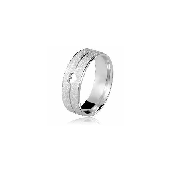 Aliança Prata Diamantada 7mm Com Coração (uma)