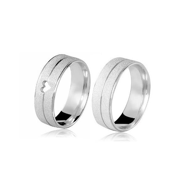 Aliança Prata Diamantada 7mm Com Coração (par)