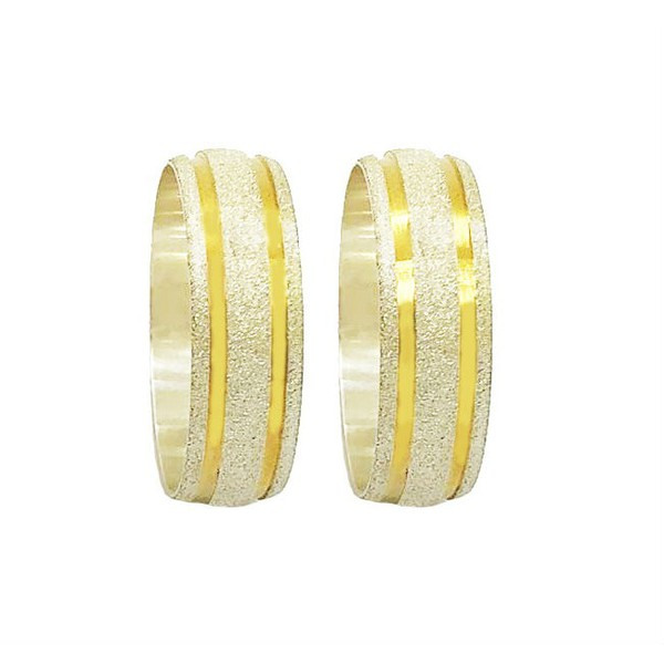 Aliança Prata Diamantada 7mm Com Dois Frisos Folheado a Ouro 18k (par)