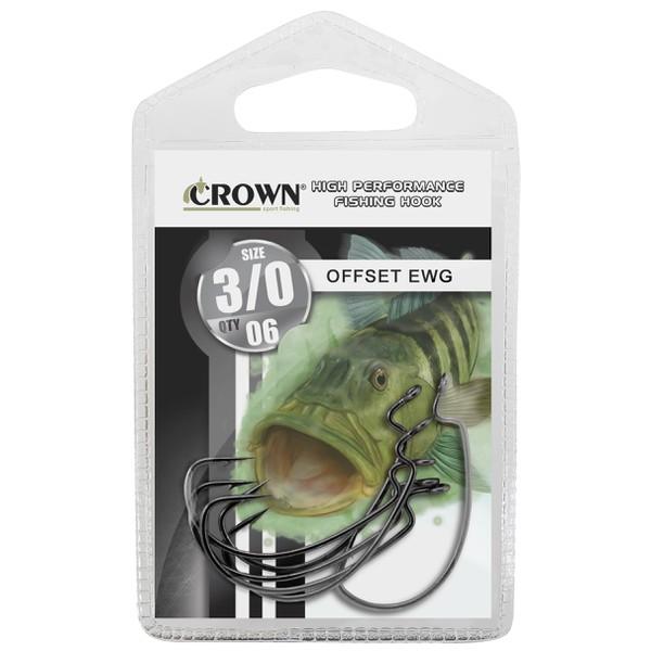 Anzol Crown Offset EWG Black (ideal para isca soft)