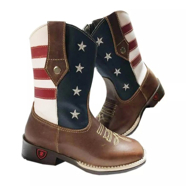 bota texana infantil bordada usa