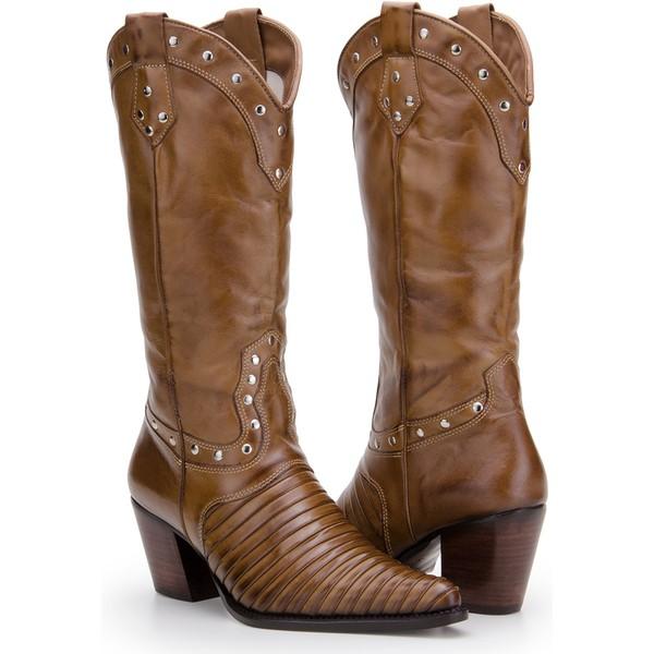 Texana Feminina Em Couro Legítimo Escamada