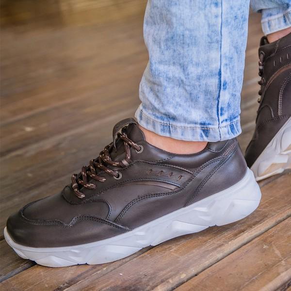 Tênis Chunky Sneaker Masculino Tracker Em Couro Tabaco