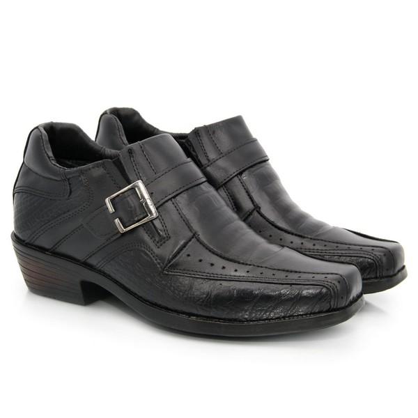 Bota texas em couro - Comfort Preto Croco