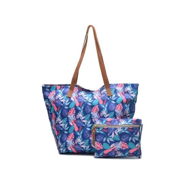 Kit Bolsa Saco Feminina Floral Moda Praia Impermeável