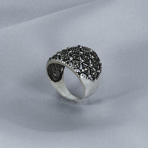 Anel Em Prata Com Pedra de Marcassita