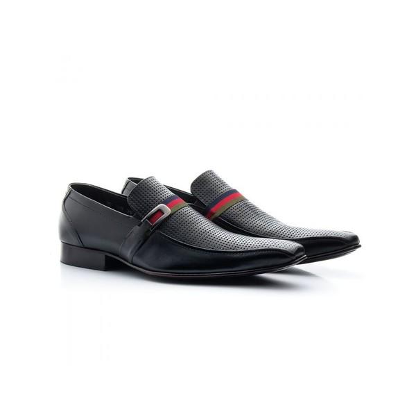 Sapato Social Masculino Couro Estampa Preto 329
