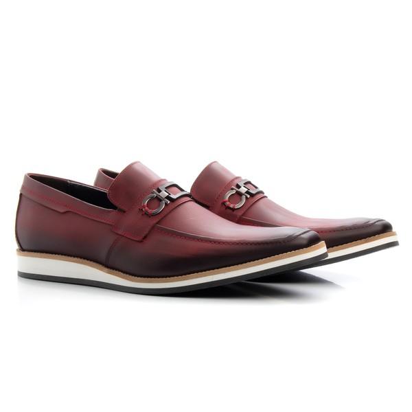 Sapato Casual Oxford Masculino Couro Bordô 523