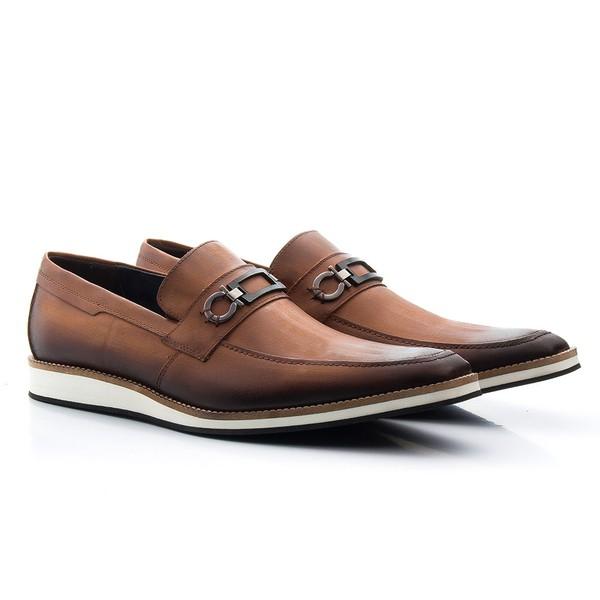 Sapato Casual Oxford Masculino Couro Whisky 524