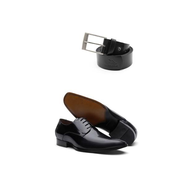 KIT 01 Par de Sapatos Cromo Preto + Cinto de Couro