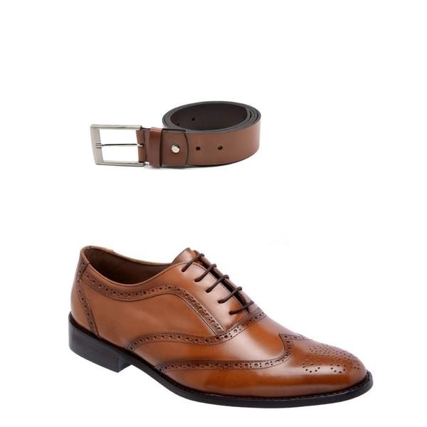 KIT 01 Par de Sapatos Cromo Caramelo + Cinto de Couro