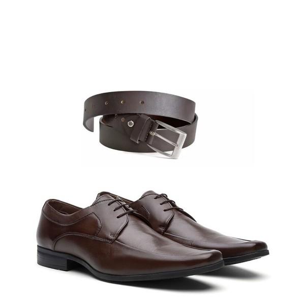 KIT 01 Par de Sapatos Pelica Café + Cinto de Couro