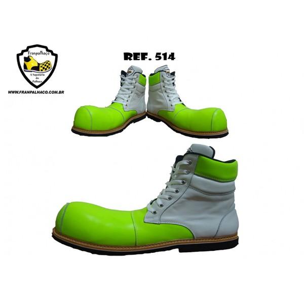 Sapato de Palhaço Verde com Branco Ref 514