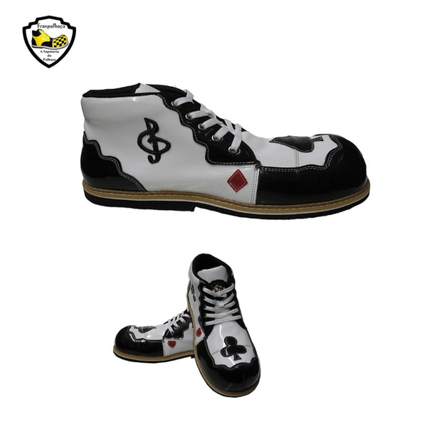 Sapato de Palhaço Branco/Preto com Detalhes Ref 405