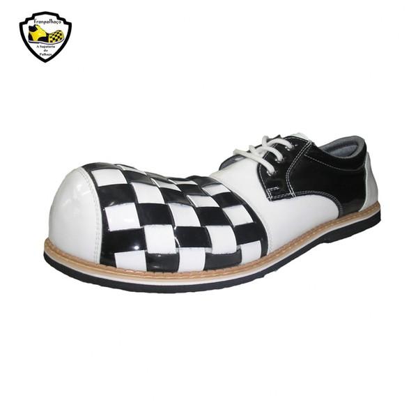 Sapato de Palhaço Branco/Preto Bico Quadriculado Ref 501