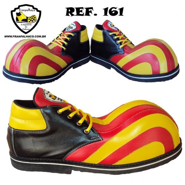 Sapato de Palhaço Listra Amarelo/Vermelho Ref 161
