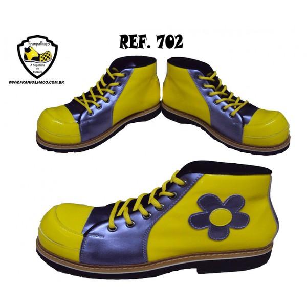 Sapato de Palhaço Feminino Amarelo/Lilas com Flor Ref 702