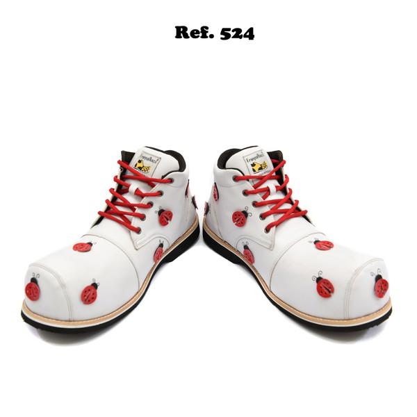Sapato de Palhaço Feminino Branco Joaninhas Ref 524