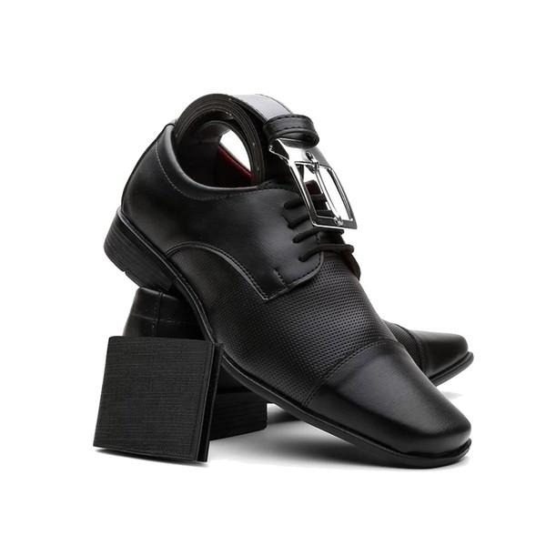 Sapato Masculino Com Carteira E Cinto Preto