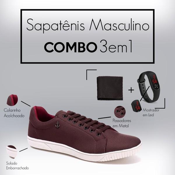 Combo Sapatênis 8569 Chocolate + Carteira/Relogio