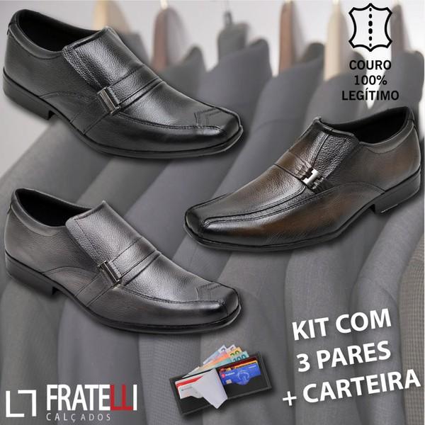 Kit Black C/ 3 Pares Em Couro Bico Quadrado Embuia/Café/Preto + carteira
