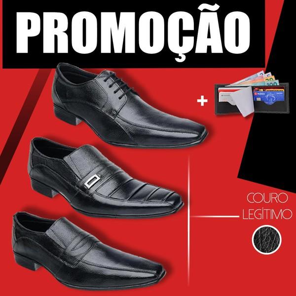 Kit C/ 3 Pares Bico Fino + Carteira Preto/Preto/Preto