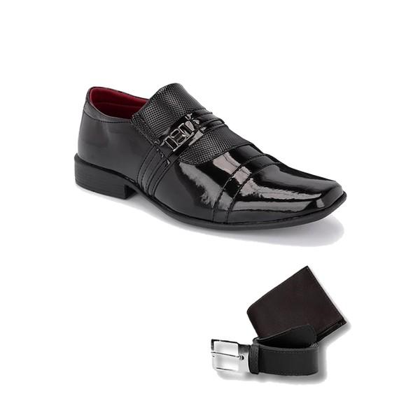 Sapato Social 839Vp Com Carteira E Cinto Preto