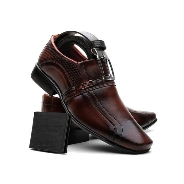 Sapato Masculino Com Carteira E Cinto Capuccino
