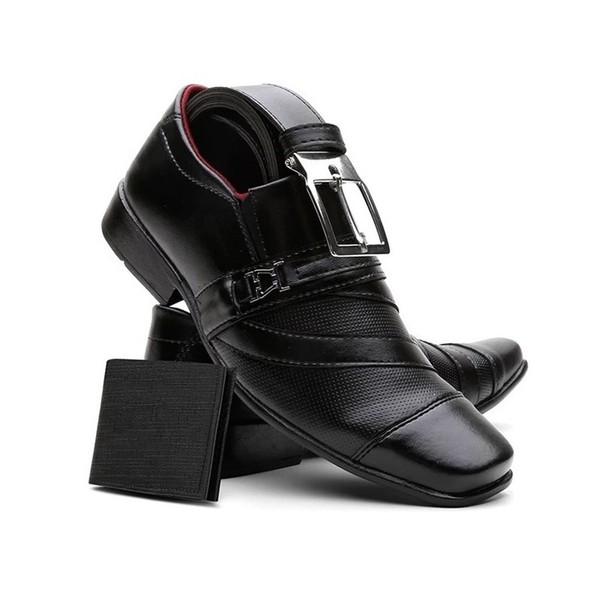 Sapato Masculino Com Carteira E Cinto Preto - Ref: 838FC