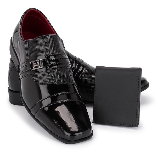 Sapato Social Verniz Com Carteira Preto REF 839VP