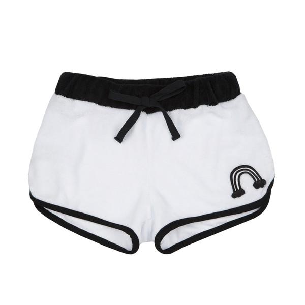 Shorts Atoalhado Patch Arco Íris Branco