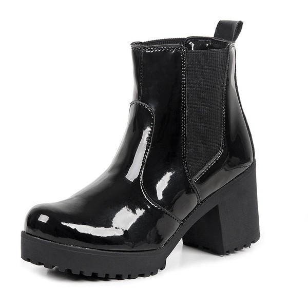 Bota Feminina Tratorada Verniz Preta Go Well Shoes