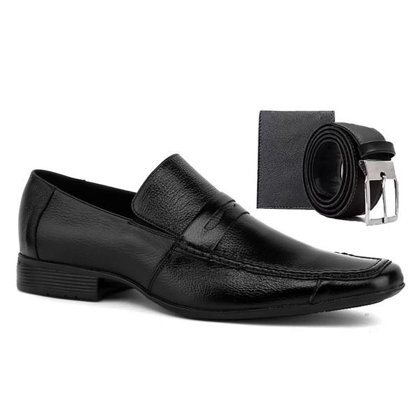 Sapato Social Masculino em Couro Preto com Cinto e Carteira