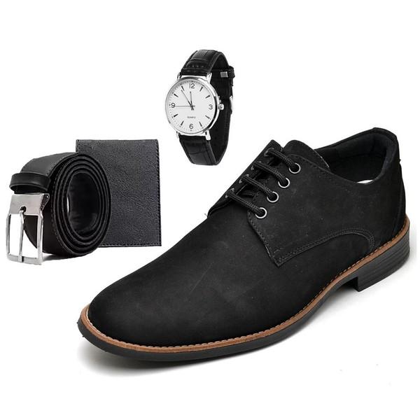 Sapato Social Masculino Esporte Fino Preto com Carteira e Relógio