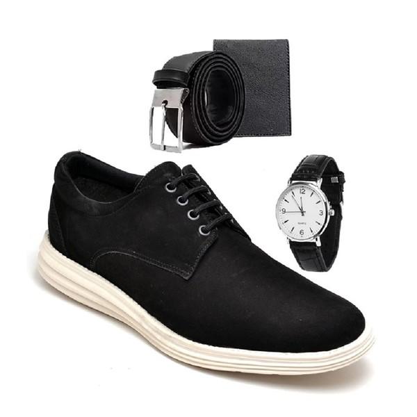 Sapatenis Masculino Casual Preto com Cinto e Carteira e Relógio