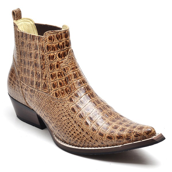 Bota Masculina Texana Premium em Couro Jacaré Nozes