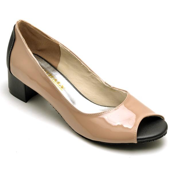 Sapato Feminino Peep Toe Verniz Nude e Preto