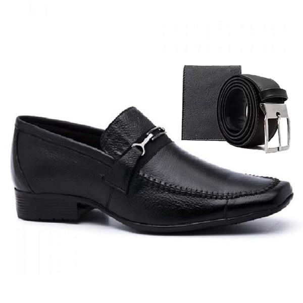 Sapato Social Masculino Bico Quadrado em Couro Preto com Cinto e Carteira