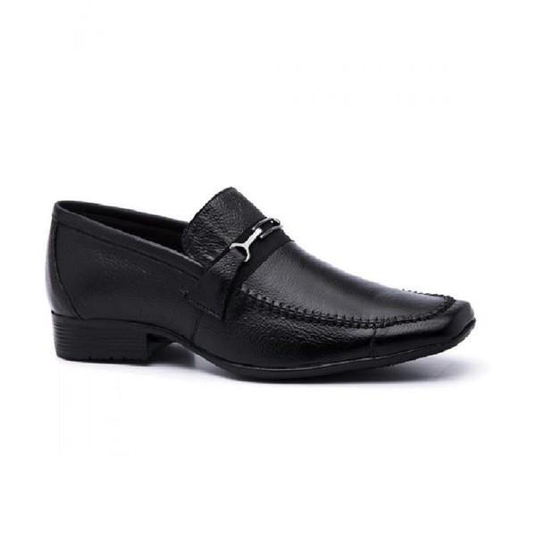 Sapato Social Masculino Bico Quadrado em Couro Preto