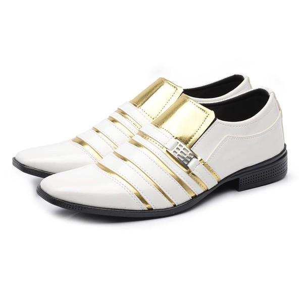 Sapato Social Masculino Verniz Branco Dourado