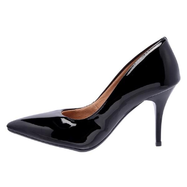 Sapato Feminino Scarpin Salto Médio Verniz Preto